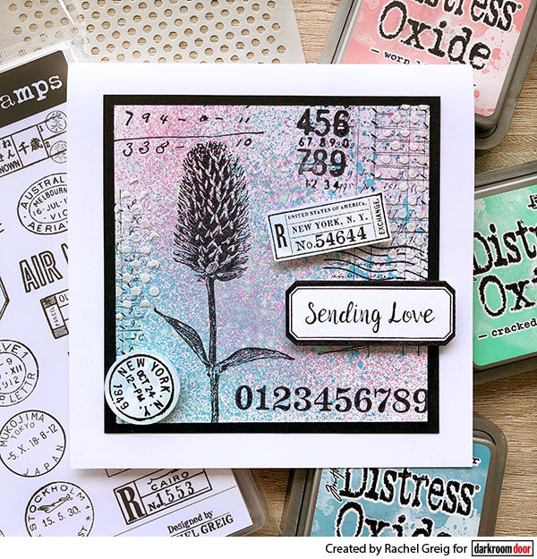 Darkroom Door - Number Medley - Red Rubber Cling Stamps