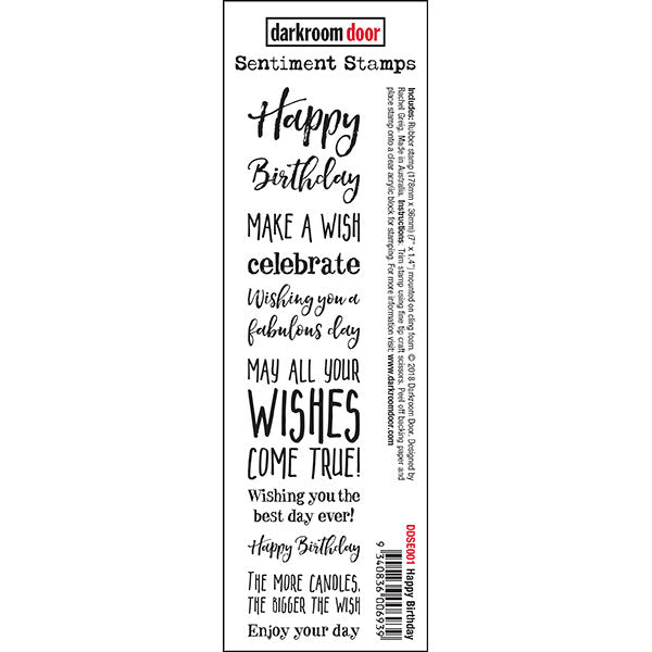Darkroom Door - Happy Birthday Sentiment Stamps - Red Rubber Cling Stamp