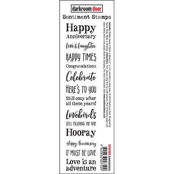Darkroom Door - Sentiment Strip Stamps - Happy Anniversary - Red Rubber Cling Stamp