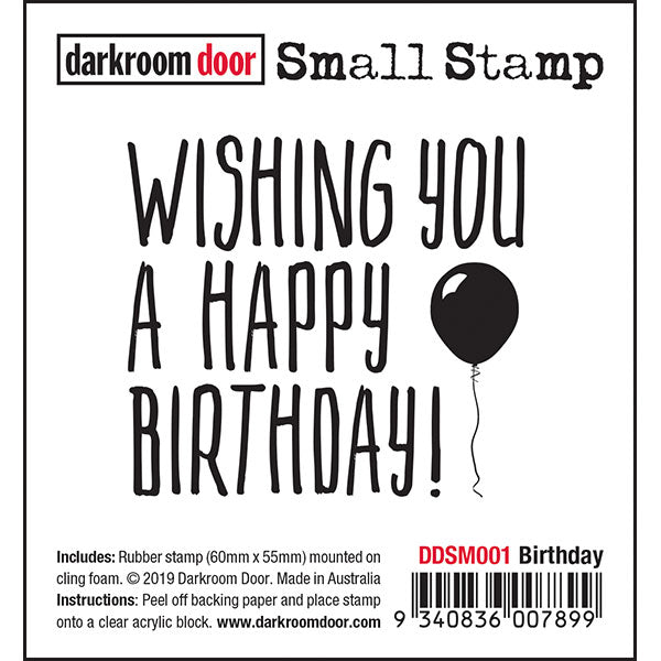Darkroom Door - Birthday - Red Rubber Cling Stamp