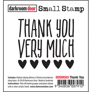 Darkroom Door - Thank You - Red Rubber Cling Stamp