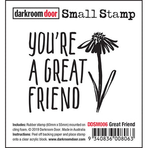 Darkroom Door - Great Friend - Red Rubber Cling Stamp