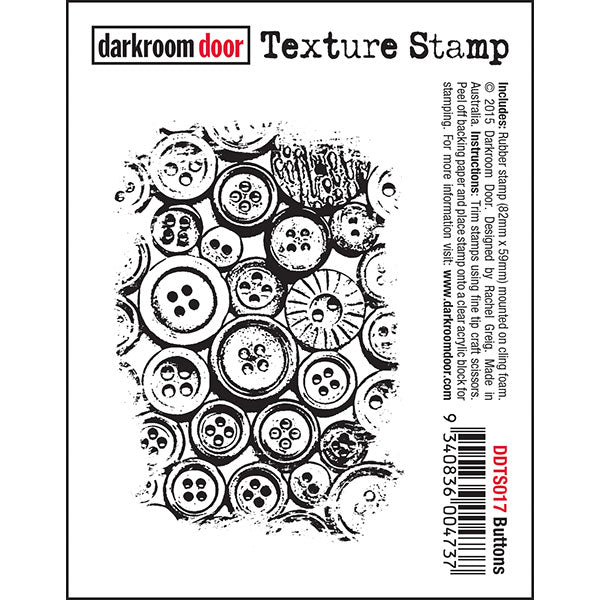 Darkroom Door - Texture Stamp - Buttons - Red Rubber Cling Stamp