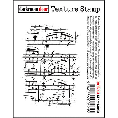 Darkroom Door - Texture Stamp - Sheet Music - Red Rubber Cling Stamp