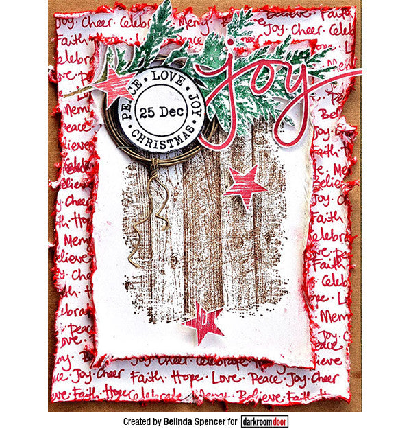 Darkroom Door - Woodgrain - Red Rubber Cling Stamp