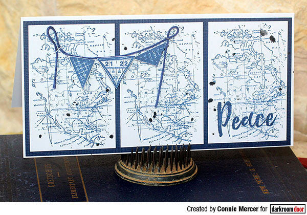 Darkroom Door - Texture Stamp - Map - Red Rubber Cling Stamp
