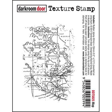Darkroom Door - Map - Red Rubber Cling Stamp