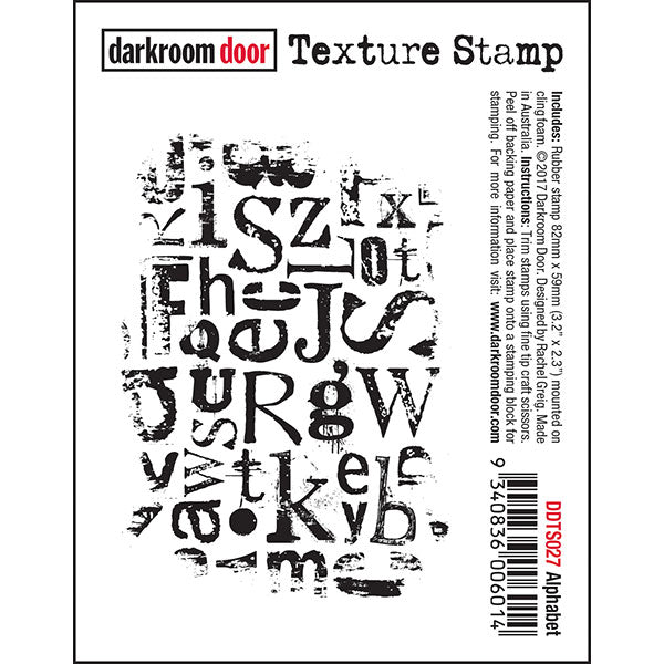 Darkroom Door - Texture Stamp - Alphabet - Red Rubber Cling Stamp