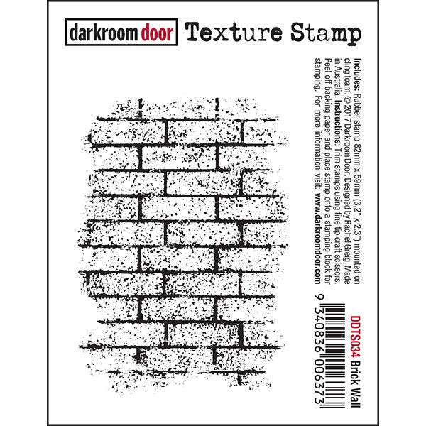 Darkroom Door - Texture Stamp - Brick Wall - Red Rubber Cling Stamp