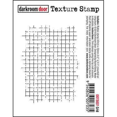 Darkroom Door - Texture Stamp - Grid - Red Rubber Cling Stamp