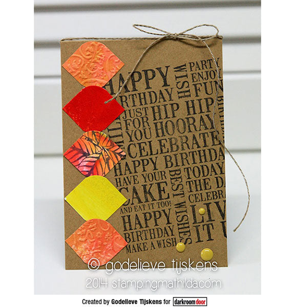 Darkroom Door - Word Block - Birthday - Red Rubber Cling Stamps