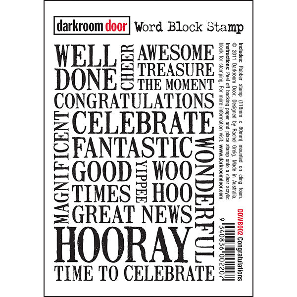 Darkroom Door - Word Block - Congratulations - Red Rubber Cling Stamps