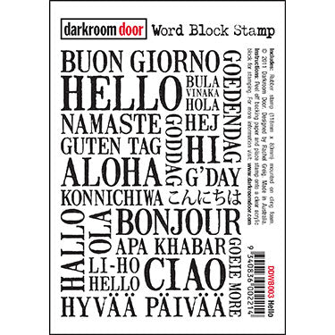 Darkroom Door - Word Block - Hello - Red Rubber Cling Stamps