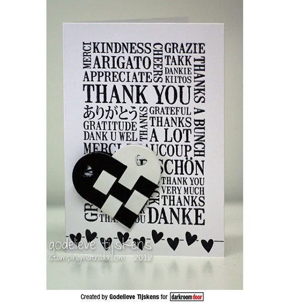 Darkroom Door - Word Block - Thank You - Red Rubber Cling Stamps