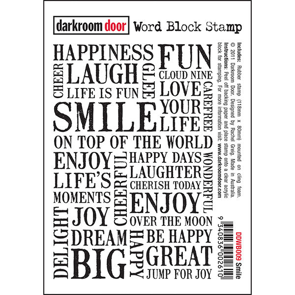Darkroom Door - Word Block - Smile - Red Rubber Cling Stamps