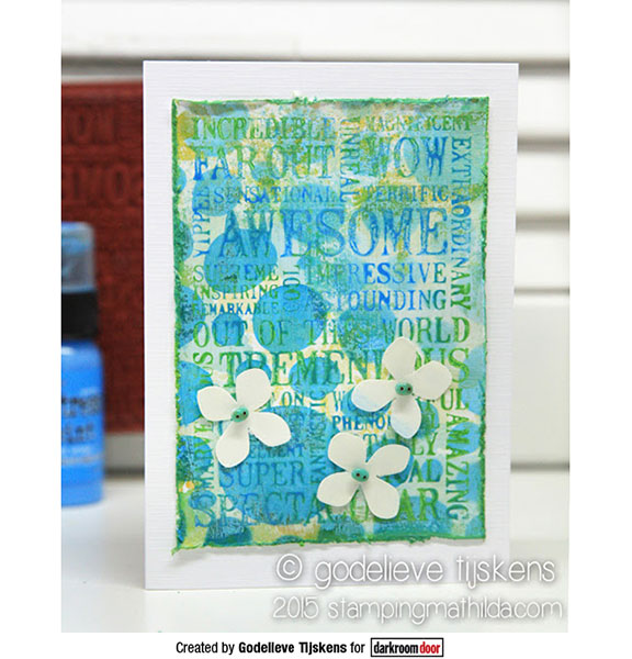 Darkroom Door - Word Block - Awesome - Red Rubber Cling Stamps