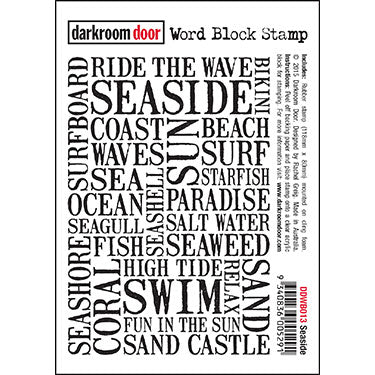 Darkroom Door - Word Block - Seaside - Red Rubber Cling Stamps