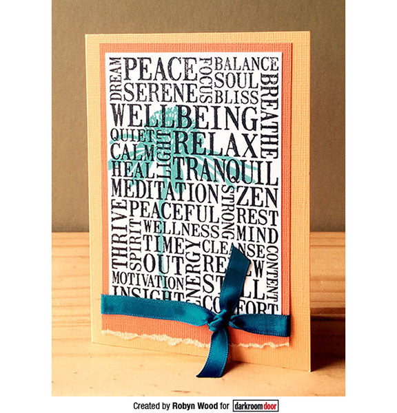 Darkroom Door - Word Block - Wellbeing - Red Rubber Cling Stamps
