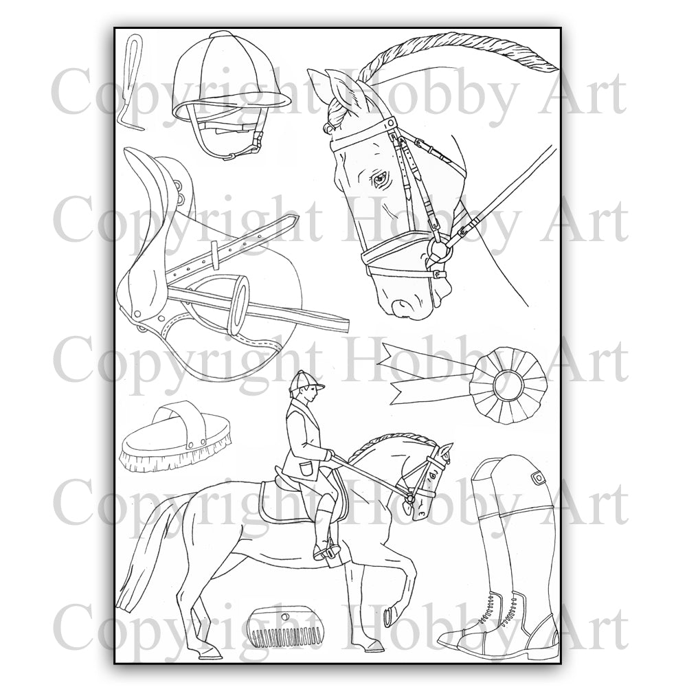 Hobby Art Stamps - Clear Polymer Stamp Set - Dressage