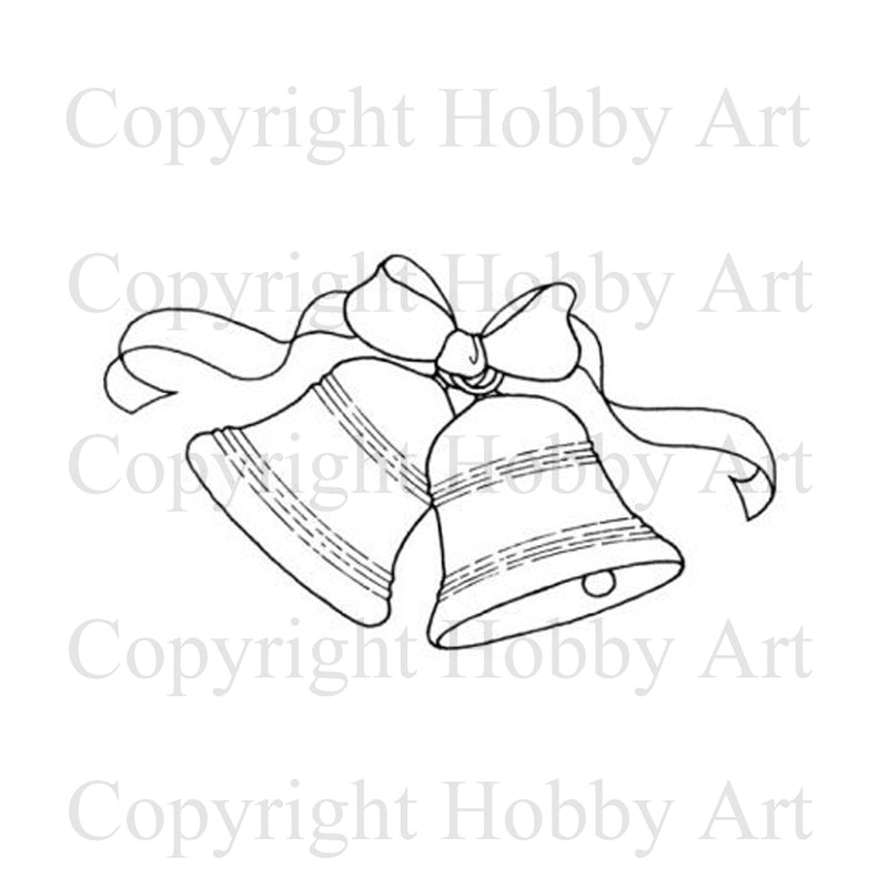 Hobby Art Stamps - Rubber Cling Stamp - Ribbon & Bells