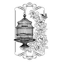 Crafty Individuals - Unmounted Rubber Stamp - Floral Birdcage