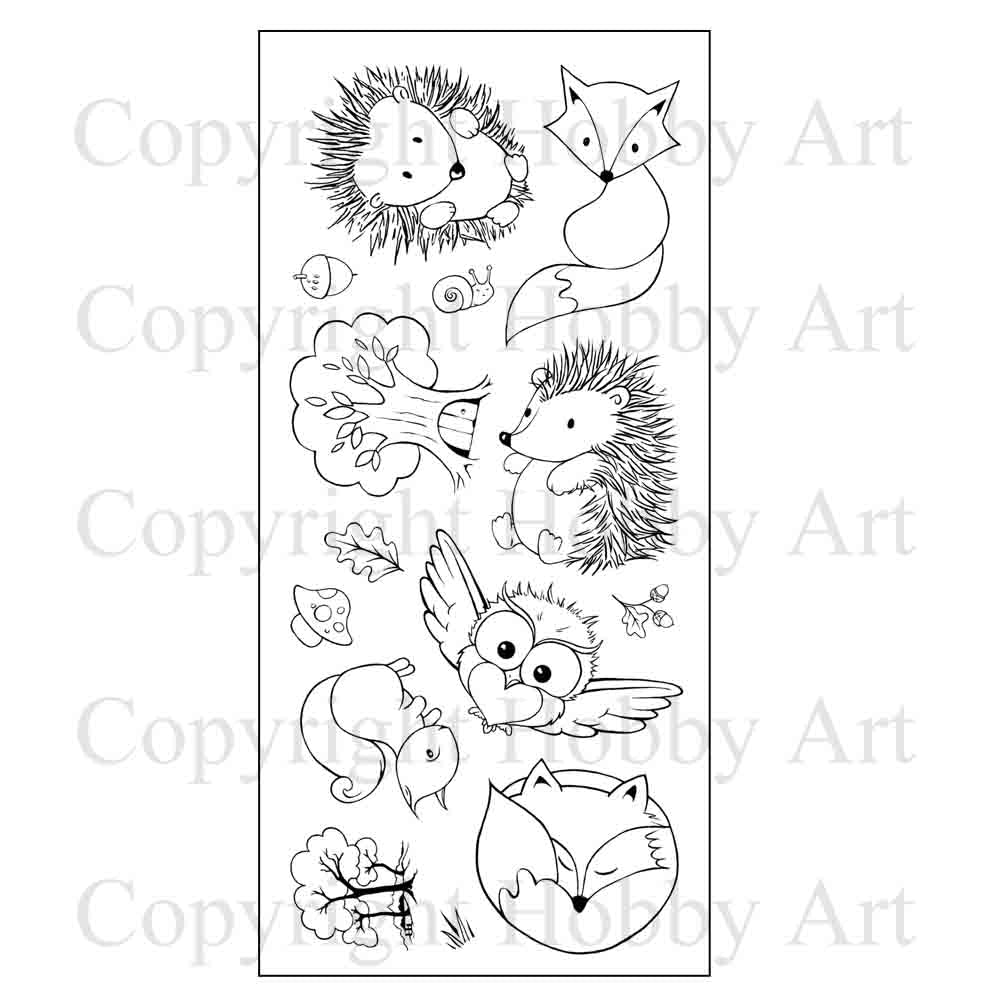 Hobby Art Stamps - Clear Polymer Stamp Set - Forest Friends