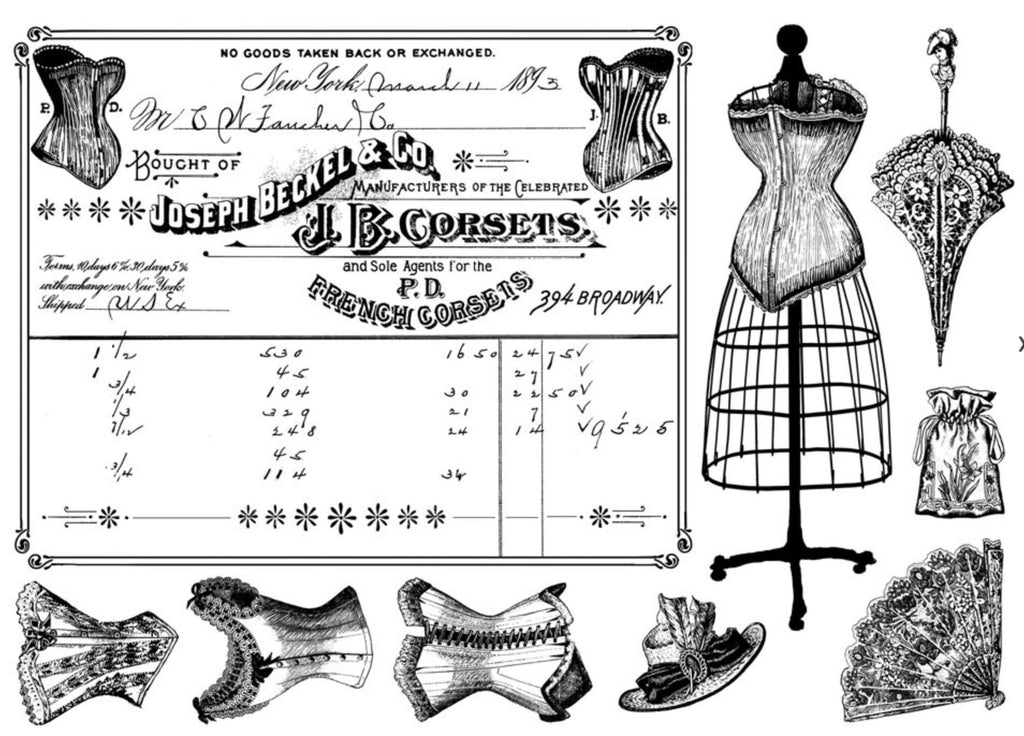 Crafty Individuals - Unmounted Rubber Stamp - French Corsets