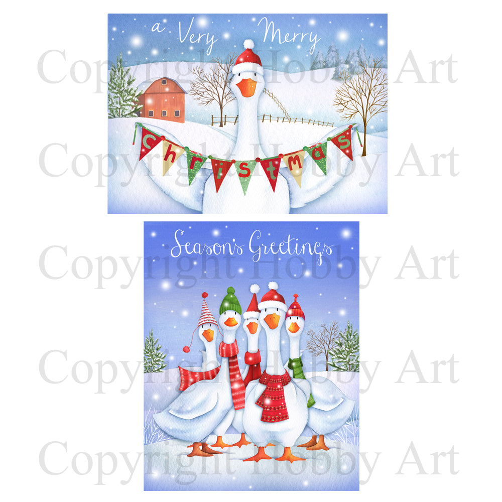 Hobby Art Stamps - Rubber Cling Stamp - Christmas Geese Stamp Set