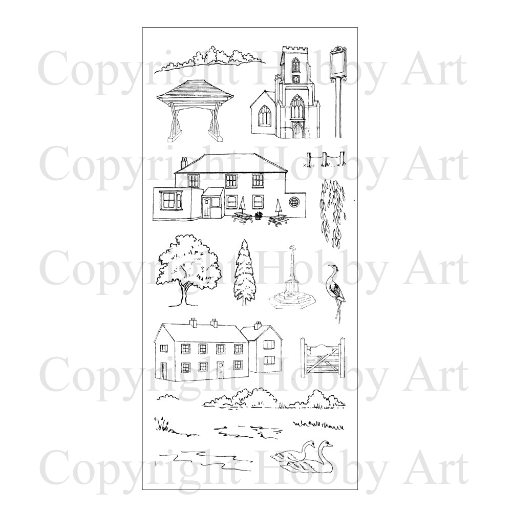 Hobby Art Stamps - Clear Polymer Stamp Set - Village Scene-it