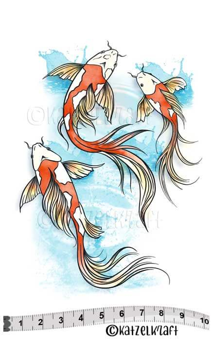 Katzelkraft - Koi Fish - Unmounted Red Rubber Stamp Set