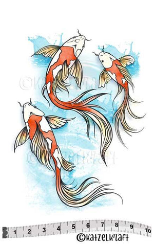 Katzelkraft - KTZ221 - Unmounted Red Rubber Stamp Set - Koi Fish