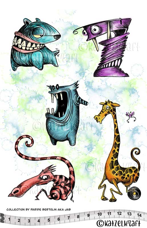 Katzelkraft - Toothy Animals - Unmounted Red Rubber Stamp Set - A5