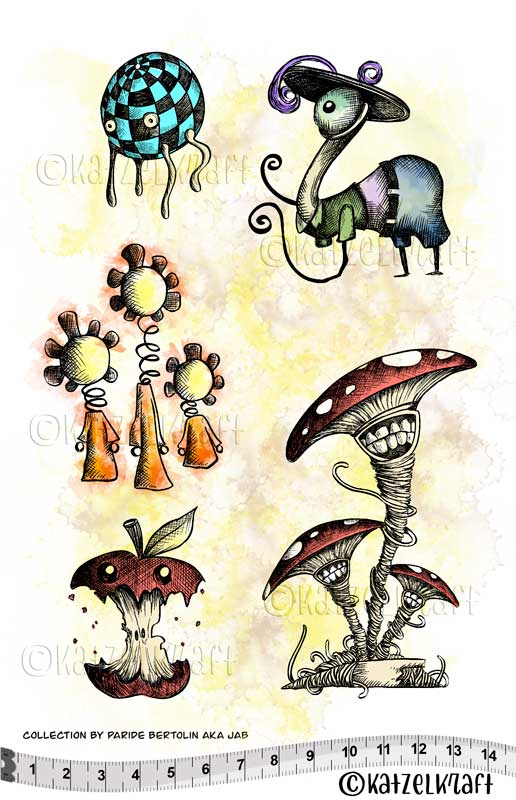 Katzelkraft - Les Herbaliens - Unmounted Red Rubber Stamp Set - A5