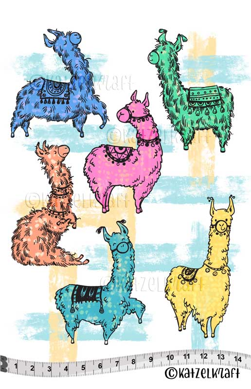 Katzelkraft - KTZ230 - Unmounted Red Rubber Stamp Set A5 - Llamas