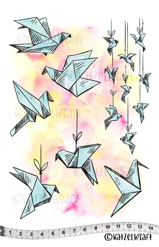 Katzelkraft - KTZ231 - Unmounted Red Rubber Stamp Set A5 - Origami Birds - PREORDER