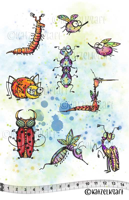 Katzelkraft - Bugs & Insects - Unmounted Red Rubber Stamp Set - A5