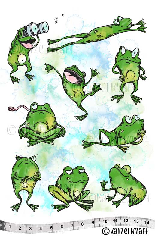 Katzelkraft - Frogs - Unmounted Red Rubber Stamp Set - A5