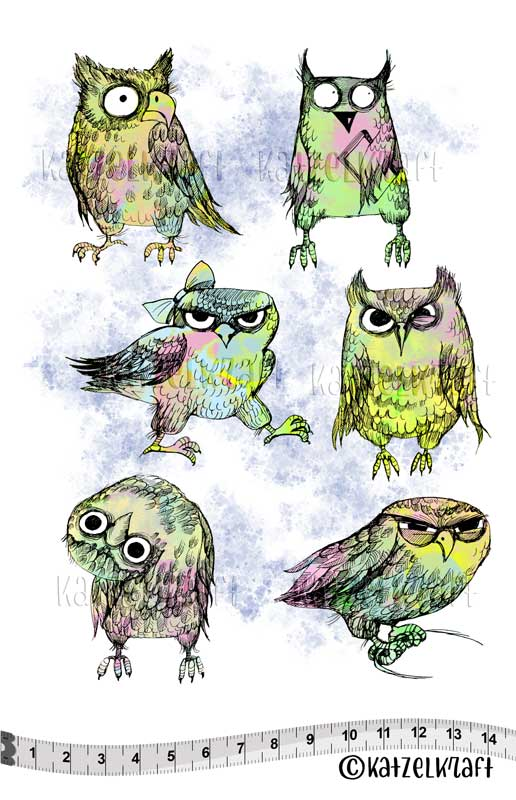 Katzelkraft - KTZ237 - Unmounted Red Rubber Stamp Set A5 - Owls = PREORDER