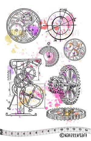 Katzelkraft - KTZ238 - Unmounted Red Rubber Stamp Set - Steampunk Ornaments
