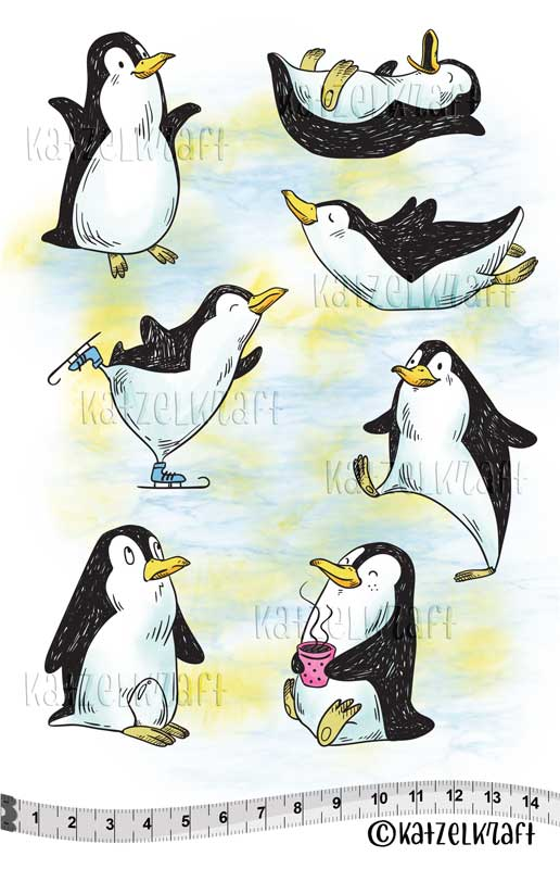 Katzelkraft - KTZ239 - Unmounted Red Rubber Stamp Set A5 - Penguins