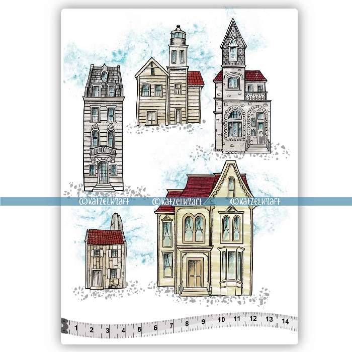 Katzelkraft - A5 - KTZ253 - Unmounted Red Rubber Stamp Set - Buildings - PREORDER