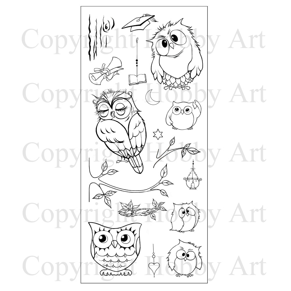 Hobby Art Stamps - Clear Polymer Stamp Set - Owls