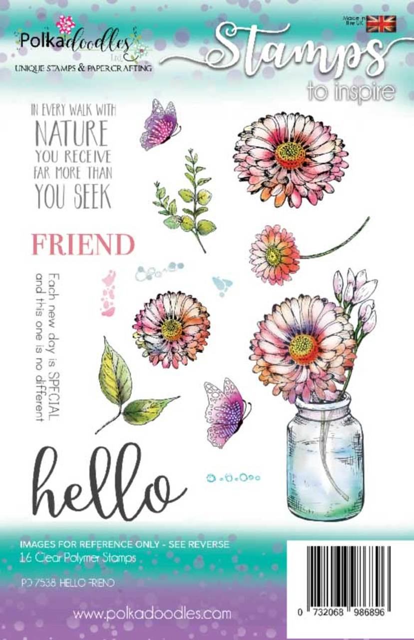 Polkadoodles - Clear Polymer Stamp Set - A5 - Hello Friend