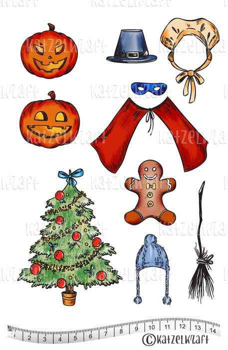 Katzelkraft - Pilgrim Holiday Accessories & More - Unmounted Red Rubber Stamp Set