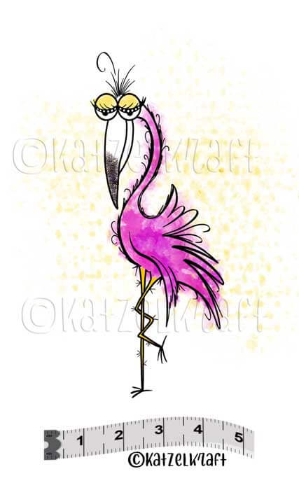 Katzelkraft - SOLO121 -  Unmounted Red Rubber Stamp - Flamingo