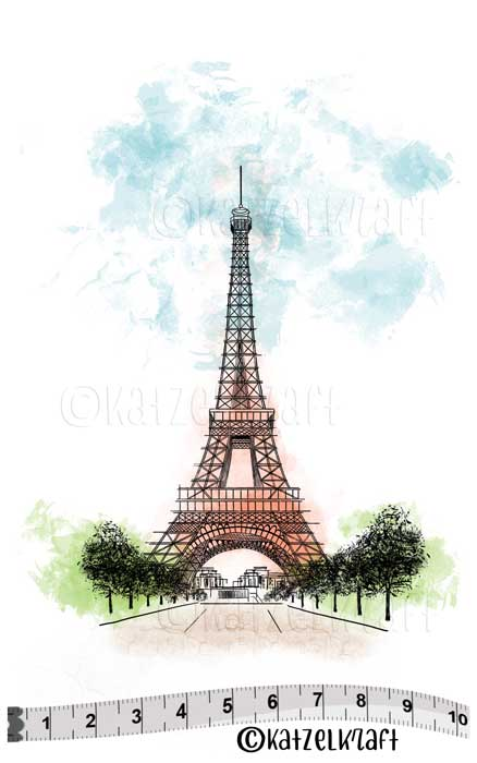 Katzelkraft - Eiffel Tower - Unmounted Red Rubber Stamp