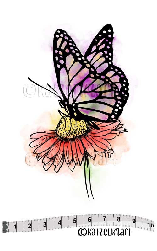 Katzelkraft - SOLO127 - Unmounted Red Rubber Stamp - Daisy Butterfly