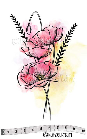 Katzelkraft - Poppies - Unmounted Red Rubber Stamp