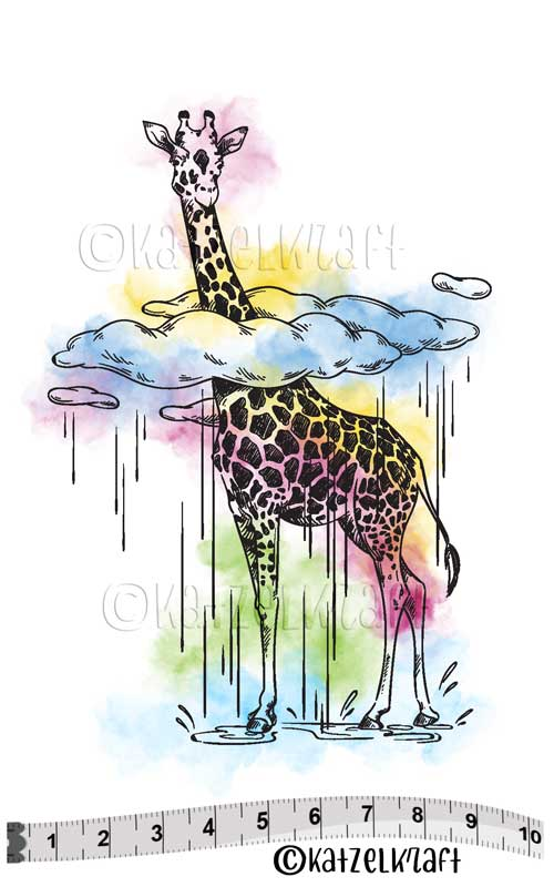 Katzelkraft - SOLO129 - Unmounted Red Rubber Stamp - Giraffe in the Clouds - PREORDER