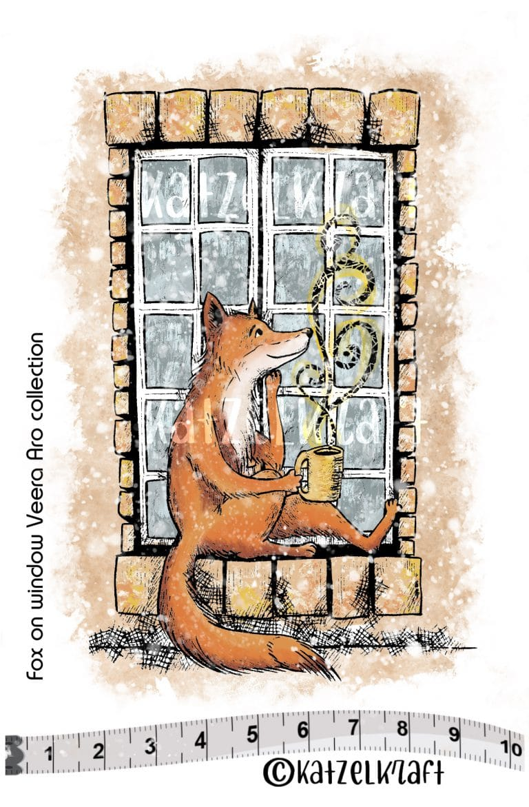 Katzelkraft - SOLO139 - Unmounted Red Rubber Stamp - Fox In Window